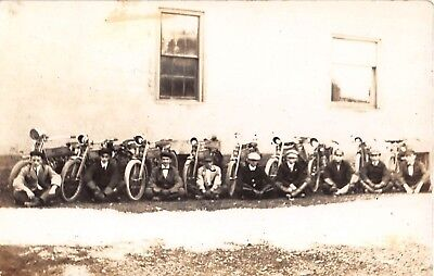 c.1910 RPPC 9 Boys Seated next to their Harley Davidson ? Motorcycles