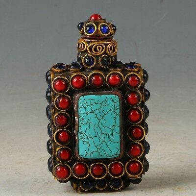 Chines Turquoise Handwork Carved Exquisite Snuff Bottle