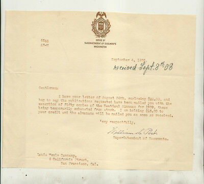 1908 Letter William Post Superintendent Of Documents Washington To Louis Weule