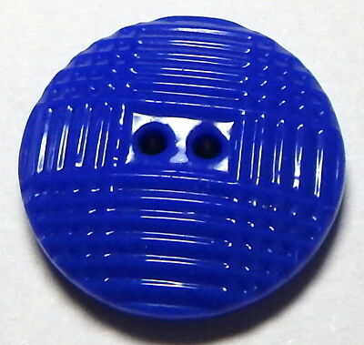 """RARE ANTIQUE 7/8"""" FRENCH ROYAL BLUE CHINA SEW THROUGH BUTTON w/MOLDED PLAID TOP"""