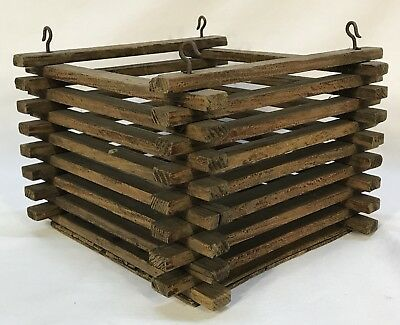 Antique Vintage Hand Made Wood Orchid Basket Planter