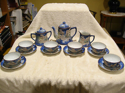Vintage 17 pc. Blue Eyed Dragonware Hand Painted Japan Tea Set