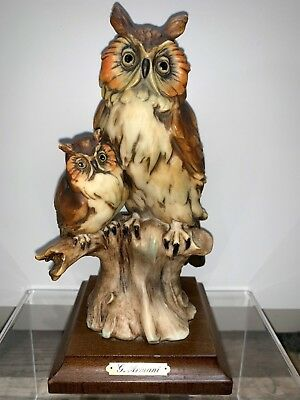 FLORENCE ITALY GIUSEPPE ARMANI OWLS Mother owl and Baby on Branch Free shipping