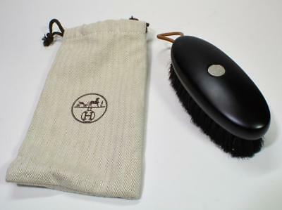 NEW? Auth Hermes Black beechwood and horsehair shoe brush H082200Z 15 w/pouch