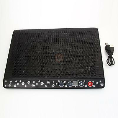 """LED Light 2 USB 6 Fans Cooling Cooler Pad Stand Radiator for 12""""-17"""" Laptop PC"""