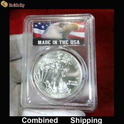"""2017 American Eagle Silver Dollar, PCGS MS69, """"MADE IN THE USA"""" Label"""