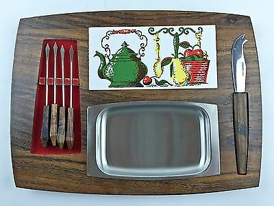Cheese Serving Board Mid Century Modern Retro Knife Forks Hors D'oeuvres Vintage