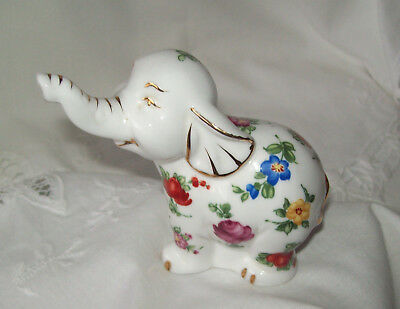 Elephant Cute China Pomander (no stopper) Figurine with Floral Decorations