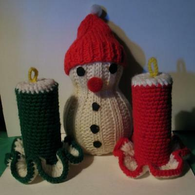 Vtg Crochet Xmas Snowman & CANDLES Lot 3 Knit Hand Made Completed Tissue Tube