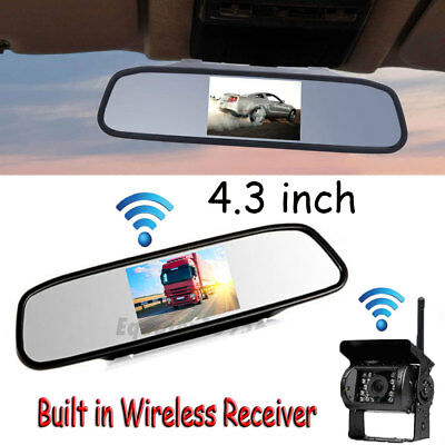 """Wireless Truck BUS IR Rear View Backup Camera System+4.3"""" Monitor for RV Truck"""