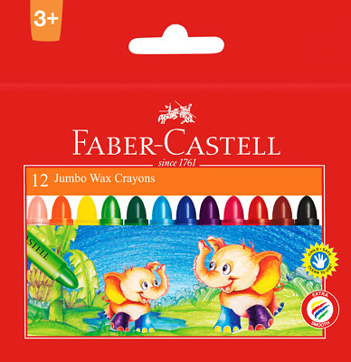 Faber-Castell 12 Jumbo Wax Crayons Child Extra Smooth Safe Clean To Use Ages 3+