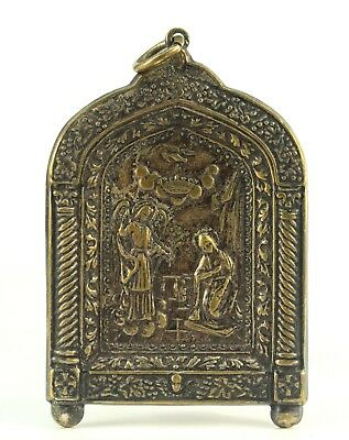 ! Antique Greek Orthodox Silvered Brass Traveling Pocket Icon, Pendant, Amulet