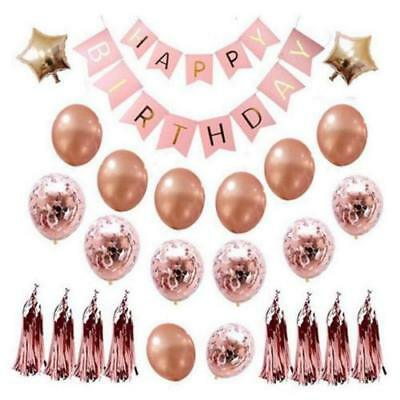 Happy Birthday Balloons, Party Decorations Foil Star Balloons Latex Confetti