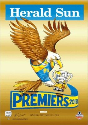 Afl 2018 West Coast Eagles Limited Edition Premiers Gold Foil Poster Mark Knight