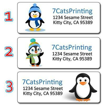 """30 Personalized Penguin Return Address Labels Cute Animal Size 1""""x2 5/8"""" Inches"""