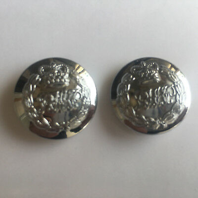 Collectible Royal HK Police Chrome tunic buttons,Firmin London Large-2pcs #A2