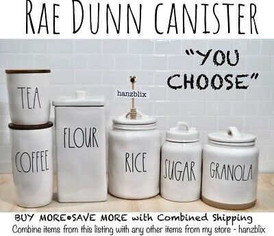 "Rae Dunn Canister Cellar COFFEE TEA SUGAR FLOUR RICE COOKIES  ""U CHOOSE"" NEW'19"