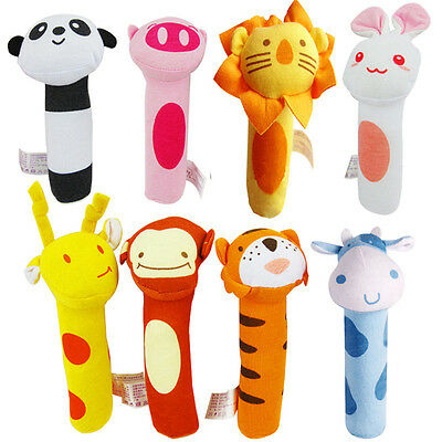 1x Soft Sound Animal Handbells plush Squeeze Rattle For Newborn Baby Toy Gifts