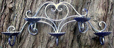 "c1970 wrought iron 5 candle wall hanger - internal / external - 24"" wide x 11"" t"