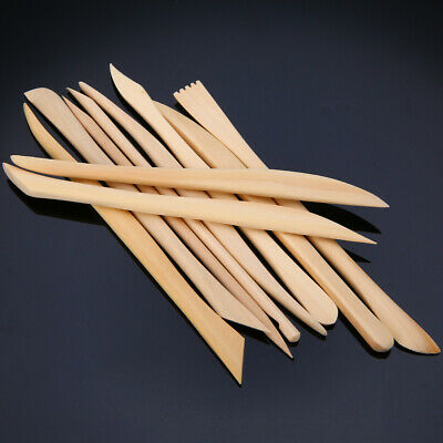 10pcs Wood Wooden Clay Modeling Tools Set Polymer Clay Sculpting DIY Craft US