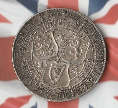 1900 Great Britain Florin- 92.5% Silver- In Pretty Amazing Condition- Beauty