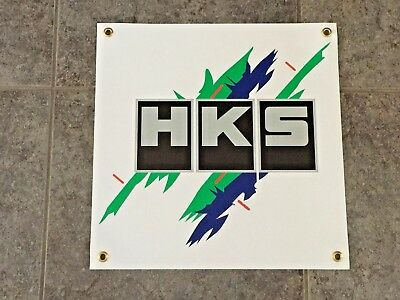HKS banner sign shop garage wall racing performance turbo exhaust power JDM car