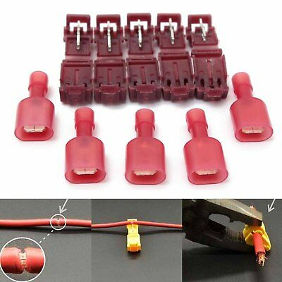 40pcs Red T-Taps& Male Insulated Quick Splice Lock Wire Terminals Connectors US