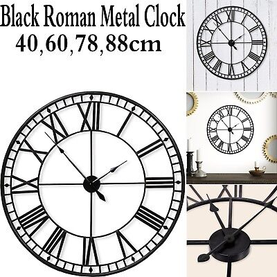 Black Large Skeleton Wall Mounted Vintage Style Roman Clock Iron Home Decor Gift