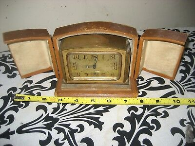 A Lovely Fully Working Arc Deco French Brass Vintage Alarm Clock & Case