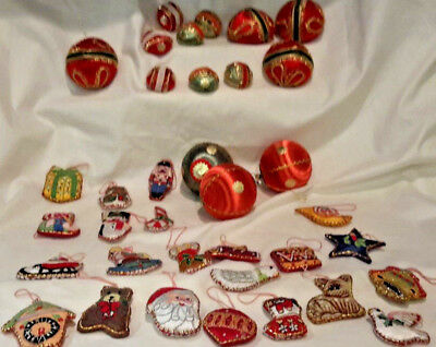 Vintage Silk Satin Decorated Christmas Tree Ornaments Lot of 35  Made in Japan