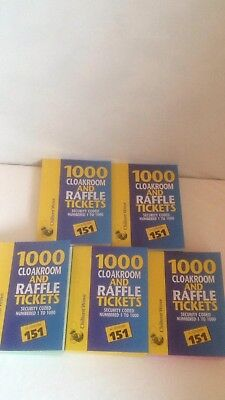 Raffle Cloakroom Tickets 1000 Books Tombola Numbered Colour Draw Prize Printed
