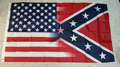 3' x 5' Southern American Flag Rebel  US Half and Half