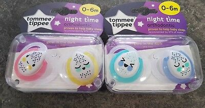 Tommee Tippee Night Time glow in the dark soothers age 0-6m girls/boys bpa free