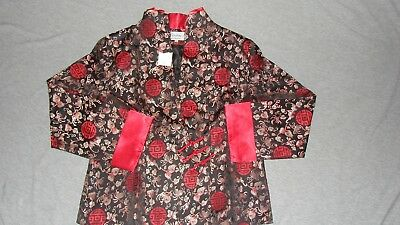 NWOT Traditional Chinese Oriental Women's Red/Black Clothing Top Jacket Coat