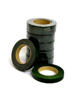 12 Reels Of Dark Green Floral Florist Tape Waterproof Buttonholes Stemwrap