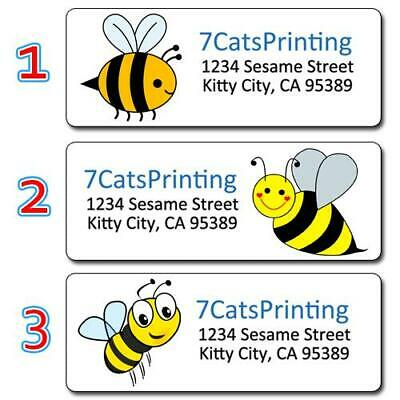 30 Personalized Bee Return Address Labels Yellow Bumble Bees