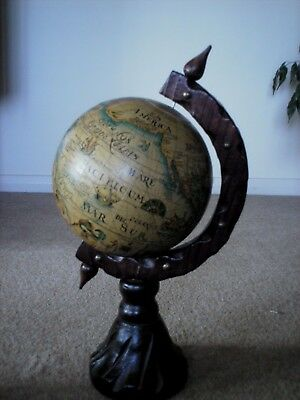 Vintage Antique Style Rotating Globe, Wooden Stand