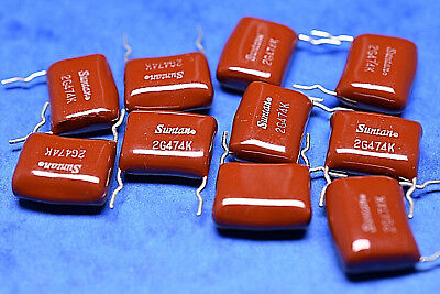 Metallized Polyester Film Capacitors DIPPED 0.47uF 400V 10% p=15mm Suntan