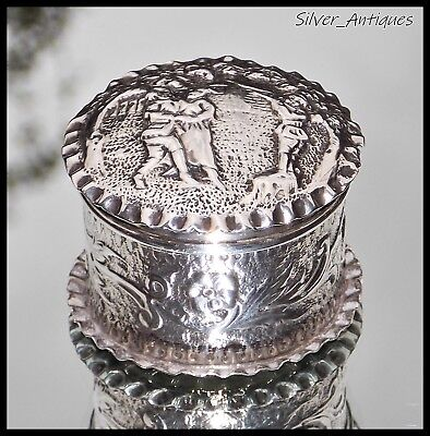 SUPERB VICTORIAN Daniel & John Wellby SOLID SILVER PICTORIAL TABLE SNUFF BOX