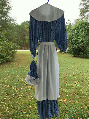 Woman's Colonial Dress w/ Apron, Collar, Mob Cap - Reenactment Costume One Size