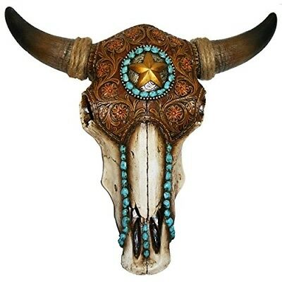 Longhorn Steer Bull Skull Tooled Leather Home Decor Brown Star Rope Turquoise