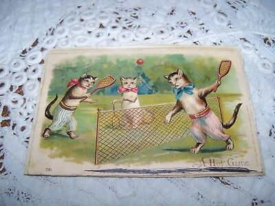Cats Playing Tennis Antique Vintage Victorian