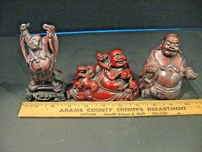Lot of  Vintage Carved Chinese Happy Buddha Lucky Raised Hands Statue Statues