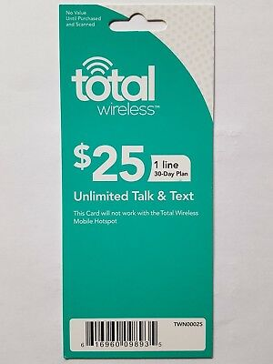 $25 Total Wireless Unlimited Talk & Text Prepaid Refill Card  FAST DELIVERY