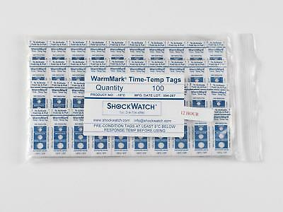 WarmMark™ Shipping Temperature/Time Indicator -18°C/0°F 12 Hour Pack of 100