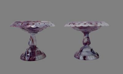 French Antique Pair of Purple Marbled Opaline Jewelery Footed Ring Dish