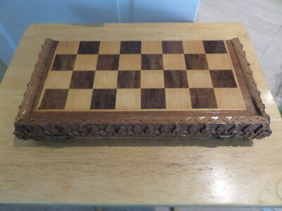 UNUSUAL CARVED WOODEN CHESS SET - FOLDING - with men but see description