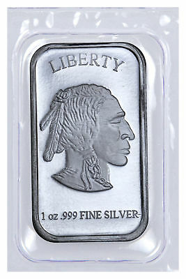1 Troy Oz .999 Fine Silver Buffalo Liberty Bar Sealed in Plastic