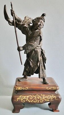 Exquisite Antique Signed Japanese Bronze Figure Of A Boy Lacquer Stand Meiji