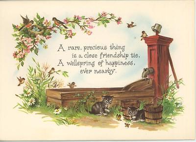 Vintage Robin Bird Blue Egg Nest Kittens Water Bucket Garden Flowers Card Print